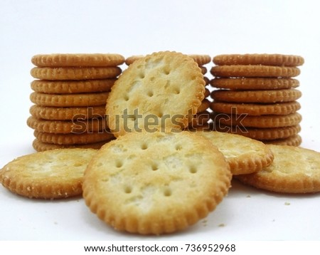 Round biscuits with isolated white background.