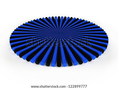 round black and blue icon, 3d geometry