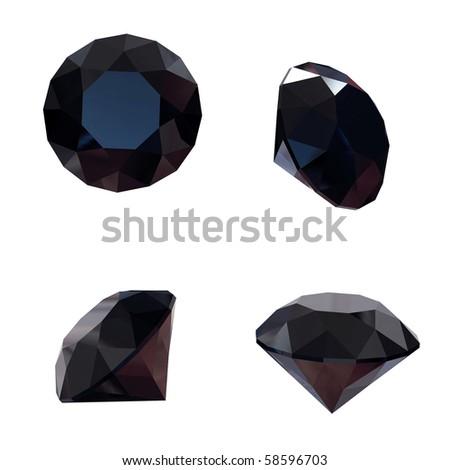 Round black sapphire isolated on white background. Gemstone - stock photo