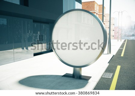 Round blank billboard on sunny city street, mock up 3D Render - stock photo