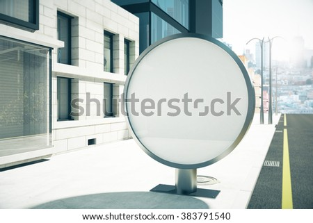Round blank billboard on sunny city street, mock up, 3D render - stock photo