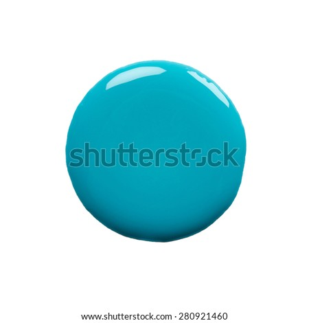 Round blot of blue nail polish isolated on white background - stock photo