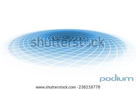 Round blue podium isolated on a white background. Raster - stock photo