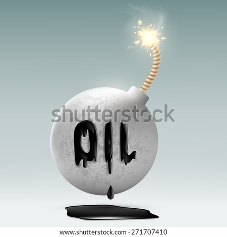 round bomb with a fuse and an inscription oil - stock photo