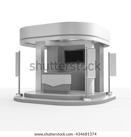 round booth with flags. 3D rendering