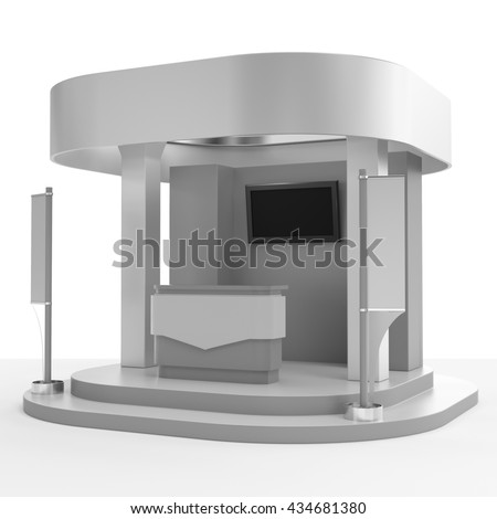 round booth with flags. 3D rendering - stock photo