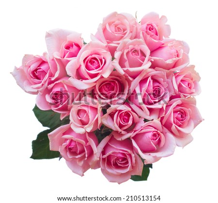 round bouquet of fresh pink roses isolated on white background - stock photo
