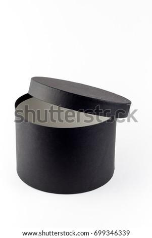 Round Box Black Paper Textured Box Stock Photo Royalty Free