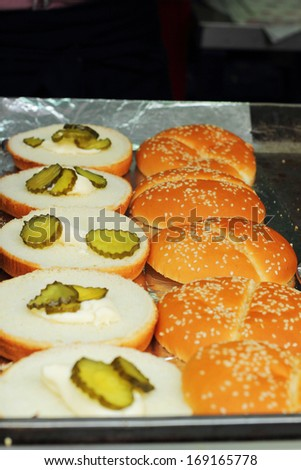 Round bread buns for burgers - stock photo
