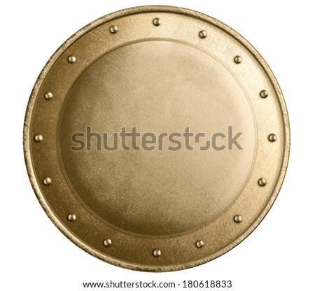 round bronze or gold metal medieval shield isolated
