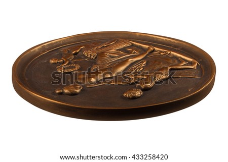 round bronze painting of a nude woman