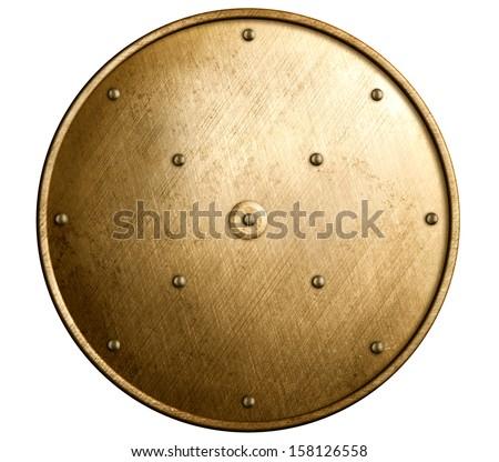 round bronze shield isolated - stock photo