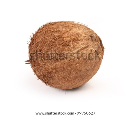 round brown coconut on white background