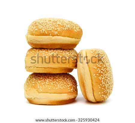 round buns with sesame isolated on white