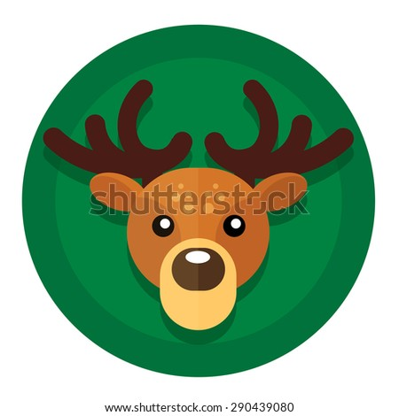 round button with Christmas or New Year holidays from Santa's reindeer sleds. - stock photo
