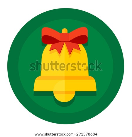 round button with Christmas or New Year holidays kolokolchikom gold and red bow - stock photo