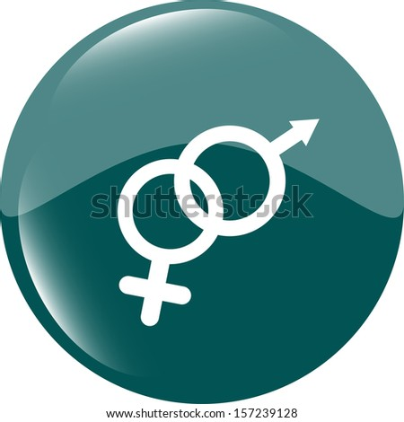 round button with male female symbol, raster - stock photo