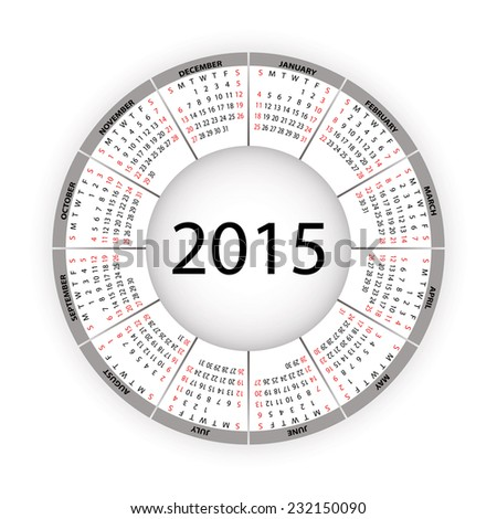 Round calendar for 2015 year. - stock photo