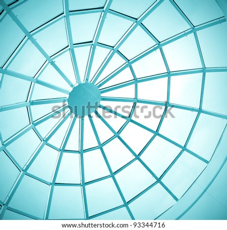 round ceiling inside office center - stock photo