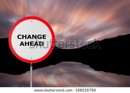 Round Change Ahead Road Sign.Copy Space for Text Message - stock photo