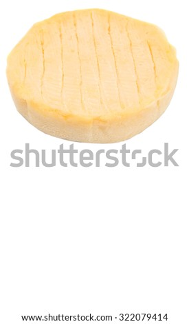 Round cheese over white background