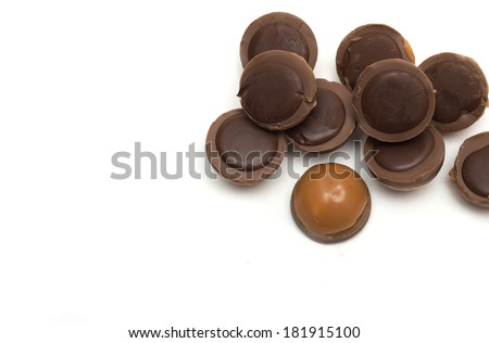 Round chocolates. Photo.