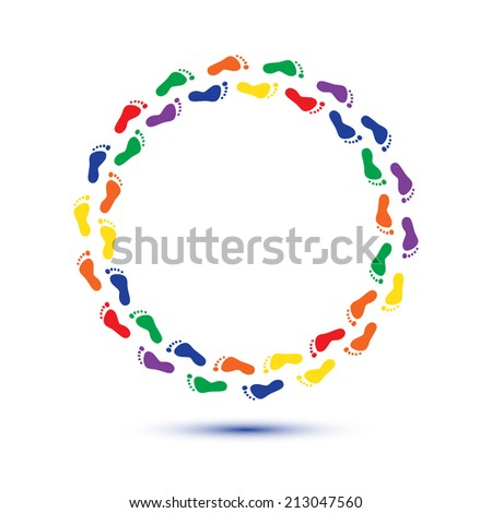 round circle child foot steps - stock photo