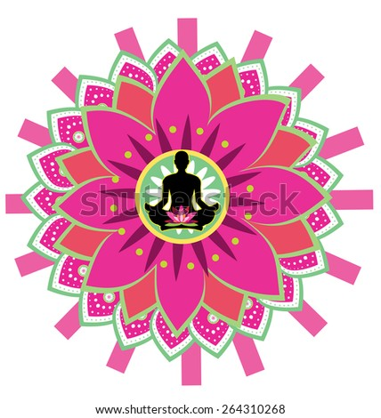 Round circle icon for yoga lotus sitting posture  - stock photo