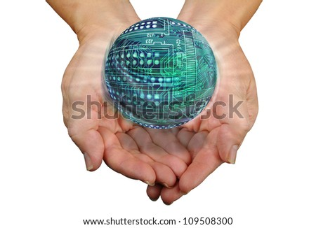 Round Circuit Board Ball in Hands. - stock photo