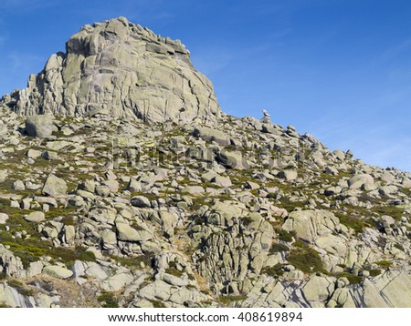 Round cliff in the Sierra de la Paramera. Navandrinal. Avila. Castilla Leon. Spain. Europe.