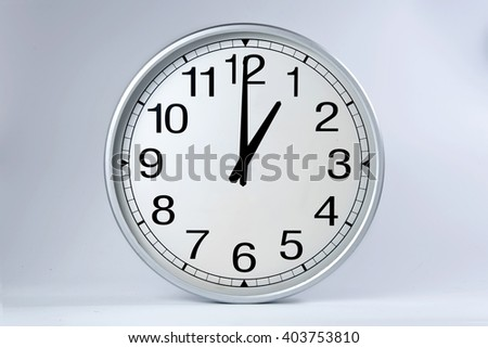 Round clock shows shows at 1 o'clock,  - stock photo