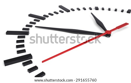 Round clock without numbers on isolated white background - stock photo