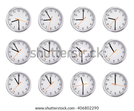 Round clocks shows the time from nine to twelve - stock photo