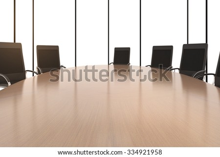 Round conference table and chairs 3D Render - stock photo