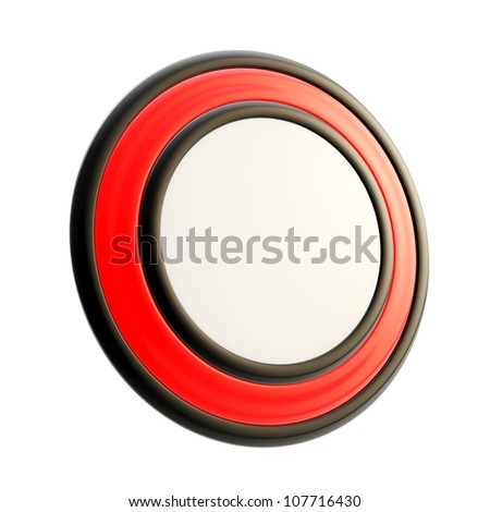 Round copyspace emblem made of black and red glossy plastic isolated on white