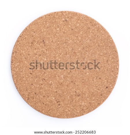 Round cork board. Isolated, on white background.