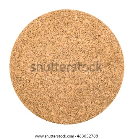 Round cork board on white background, Isolated with Clipping Path.