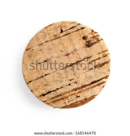Round cork isolated on white background, top view - stock photo