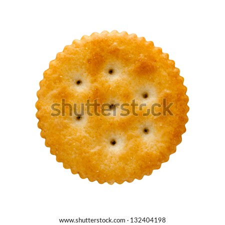 Round Cracker isolated on white  with a clipping path. - stock photo