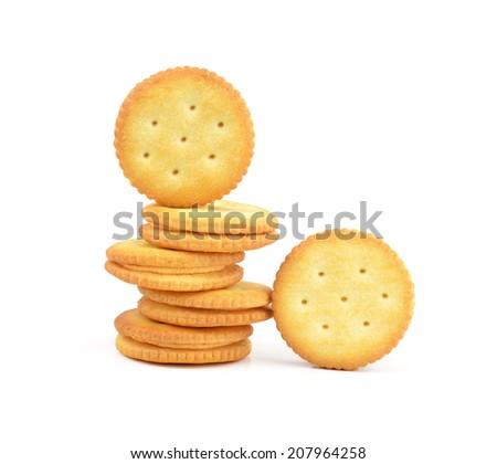 Round cracker stack, isolated - stock photo