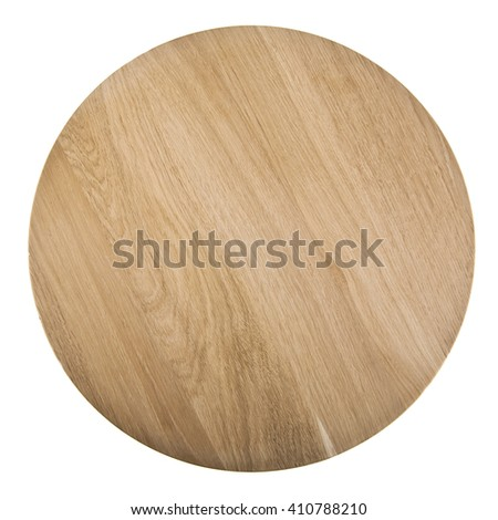 round cutting Board isolated on white background. Closeup. View from above - stock photo