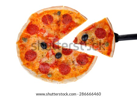 Round delicious Pizza isolated on white background