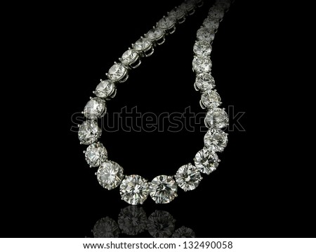 Round diamonds necklace - stock photo