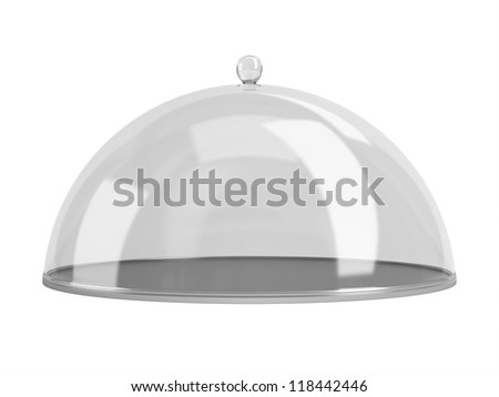 Round dish closed by the transparent calotte. Isolated on a white background.