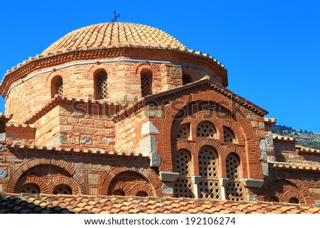 Round dome above the church of byzantine monastery, Greece