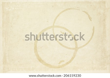 round dry coffee cup stain on brown recycle paper - stock photo