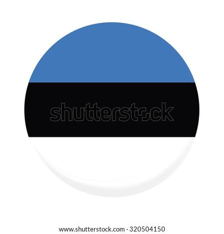 Round estonia flag raster icon isolated, estonia flag button - stock photo