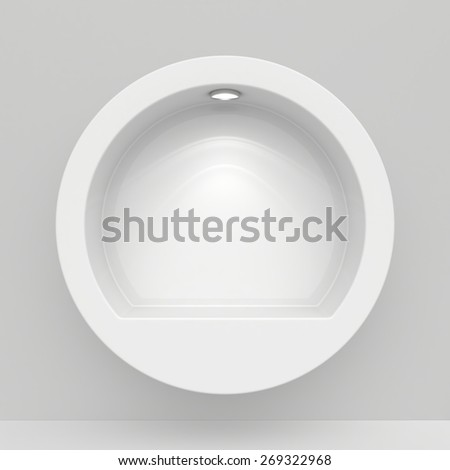 Round Exhibit Showcases with light sources. 3d render - stock photo