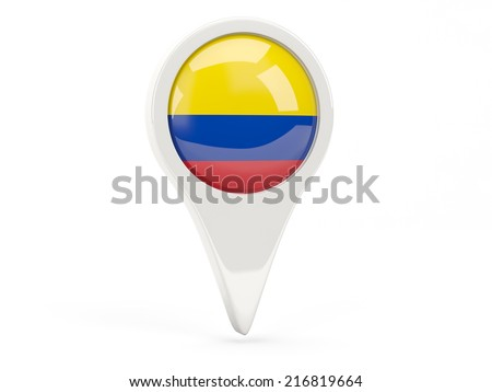 Round flag icon of colombia isolated on white - stock photo