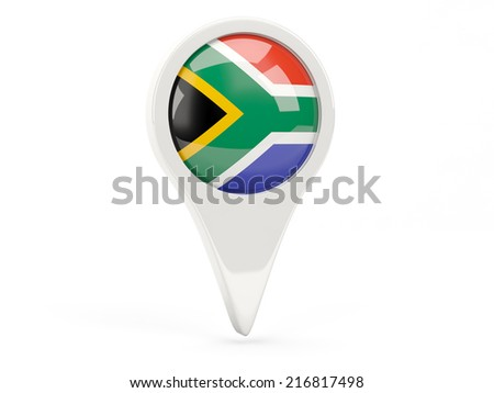 Round flag icon of south africa isolated on white